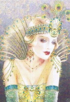 A lovely Art Deco lady in gold and green evening dress with peacock feathers in her head band.