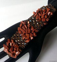 Knit Wire Bracelet-Knitted Bracelet- Crystal Bead and Wire Knit Bracelet-Naturel Stone Bracelet