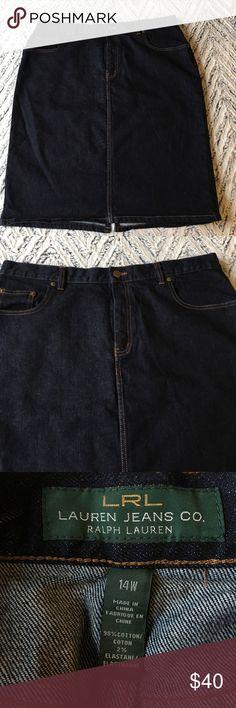 "Lauren Jeans Co 14w Skirt 19"" across the waist flat, 24"" long.  Some stretch, dark wash, like new. Lauren Ralph Lauren Skirts"
