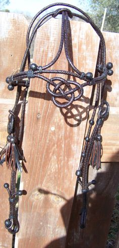 Braided Kangaroo Leather Headstall with an Alamar Knot Browband  w/ Matching Bit Hobble. $500.00, via Etsy.