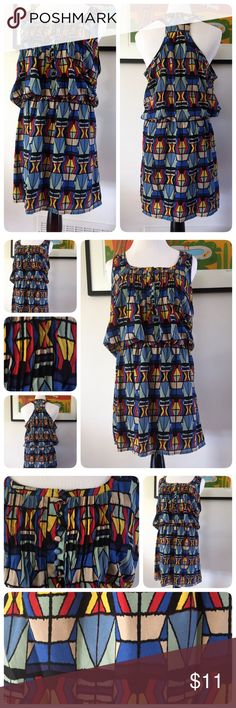 "Jessica Simpson Racer Back Geo Print Boho Dress M This is a gorgeous Jessica Simpson racerback geometric print dress size medium. Poly blend material. Front has button detailing. Waistline is elastic. Dress is lined. Dress length 36"" & bust up to 40."" Jessica Simpson Dresses Midi"