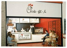 This photo shows the first Chick-Fil-A at Greenbriar Mall. My grandmother is the woman in yellow. She worked at Rich's at the time. It was a pretty neat picture to come across.