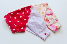 "Set of 2 (two). Baby ""Infinity Scarf"" Drool Bibs. In ""red Polka dots"", ""Orange flowers"", and/or ""Mint embroidery"" (choose 2). By Mommy Can Sew, on Etsy"