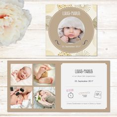 Vintage Baby | Geburtskarte Klappkarte quadratisch