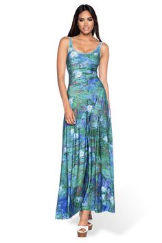 Blue Water Lilies Maxi Dress