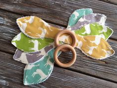 Natural Maple Wood Organic Ears Teething/Teether/Ring/Toy/Chew for Toddler/Baby ~ Elk Family ~ Birch Organic Fabrics