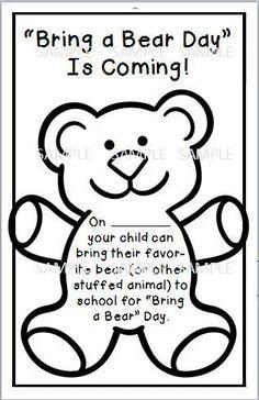 Bring a bear day sample for hibernation day/winter theme Bears Preschool, Preschool Themes, Preschool Lessons, Preschool Classroom, Classroom Activities, Teaching Kindergarten, Winter Activities, Day Care Activities, Preschool Winter