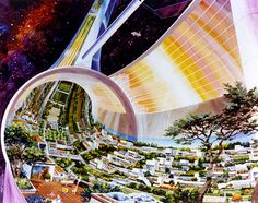 Images of a toroidal space colony from NASA-commissioned conceptual artwork in the Agriculture Durable, Science Fiction, Space Colony, After Earth, Shell Game, Spiegel Online, Decoration Originale, Carl Sagan, 1975
