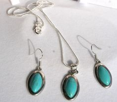 Perfect gift for vintage lovers. Turquoise Jewellery – jewellery set turquoise and silver - pendant + earrings – a unique product by EWJANART via en.DaWanda.com