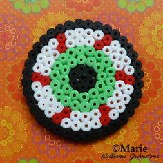 Make some easy blood-shot eyeball drink coasters for Halloween with this simple perler bead design.