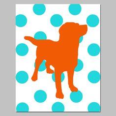 Polka Dot Labrador Puppy Dog Print  8x10 Modern Nursery by Tessyla, $20.00