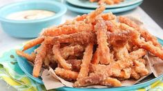 Our sweet and savory fries are best served with a side of creamy coconut-maple dipping sauce.