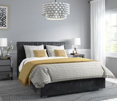 House and Facilities Safina Rolltop King Size Ottoman Bed in Dark Grey Velvet Should You Ge Gray Master Bedroom, Yellow Bedroom Decor, Grey Headboard Bedroom, Bedroom Inspirations, Bedroom Inspiration Grey, Grey And Gold Bedroom, Mustard And Grey Bedroom, Bedroom Color Schemes, Bedroom Headboard