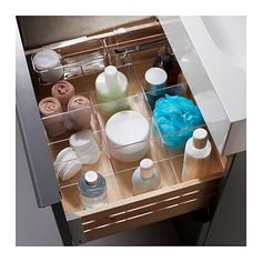 IKEA has a new line of acrylic storage called Godmorgon, which ranges from $8 to $15 and includes these neat drawer dividers.