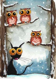 ACEO Original Watercolor Folk Art Whimsy Stressie Cat Owl Snow Fall Tree Winter | eBay