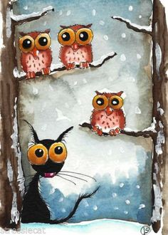 ACEO Original Watercolor Folk Art Whimsy Stressie Cat Owl Snow Fall Tree Winter | eBay