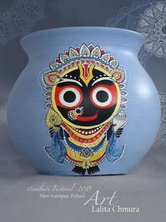 Panihati Pots 2015 Ceramic Painting, Fabric Painting, Ceramic Art, Bottle Painting, Bottle Art, Krishna Art, Hare Krishna, Krishna Images, Lord Ganesha Paintings