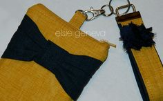 Ready to Ship Mustard Yellow Navy Blue Bow iPhone 6 by elsiegeneva