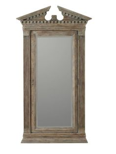 Features:  -Hardwood solids, mirror, resin construction.  -Rhapsody collection.  Product Type: -Free standing/Wall mounted.  Style (Old): -Rustic.  Finish: -Gray.  Mirror Included: -Yes.  Necklace/Tie