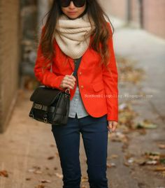 Double denim and Red Blazer