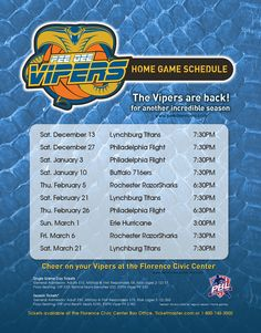 The Pee Dee Vipers are back for their 2nd season at the Florence Civic Center in Florence, South Carolina