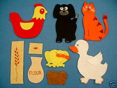 little red hen felt board flannel board story set Flannel Board Stories, Felt Board Stories, Felt Stories, Flannel Boards, Stories For Kids, Finger Puppet Patterns, Felt Books, Quiet Books, Preschool Crafts