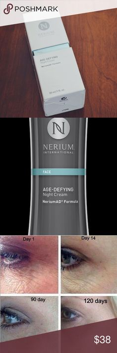 Nerium Age Defying Night Cream (FULL SIZE) Nerium's flagship product is a clinically tested age-fighting Night Cream containing the highest concentration of our exclusive, patented NAE-8® extract. Good for Fine Lines and Wrinkles Hyperpigmentation Uneven Skin Texture Enlarged Pores Aging or Sun-Damaged Skin. Each bottle has a tiny 'leaf' stopper in the hole of the pump that has to be removed before the product can be discharged. nerium international Other