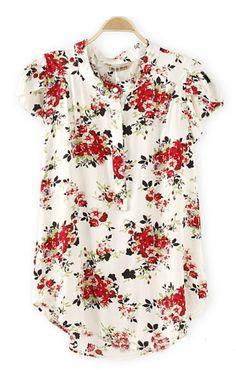 Short sleeve white chiffon floral print blouse with Mandarin collar.