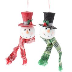 RAZ Plush Snowman Head Christmas Ornaments Set of 2