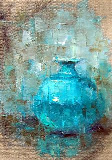 Oil Sketch of Blue Vase/ Easy way to try this artist's fracturing technique using very few colors.