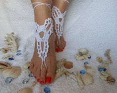 Items similar to Crochet Barefoot Sandals, Tan Barefoot sandles, Beach Pool, Nude shoes, Foot jewelry, Victorian Lace, Women's fashion accessory on Etsy