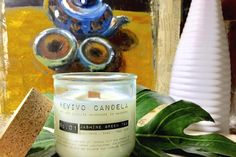 Bougie parfumée mèche en bois thé vert jasmin