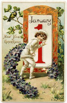 Old Design Shop ~ free digital image: vintage Tuck's New Years postcard