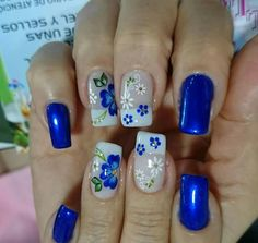 54 Ideas For Nails Spring Colors Blue Flowers Cute Nail Colors, Spring Nail Colors, Spring Nails, French Nails, Gel Nail Art, Acrylic Nails, Blue Nails, My Nails, Trendy Nail Art