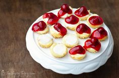 simple mini cheesecakes makes about 48 maybe 1/2 cherry, 1/2 blueberry