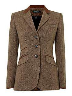 LAUREN BY RALPH LAUREN  Tweed Hacking Jacket With Suede Tipped Collar  Product code: D422394