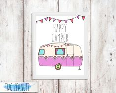 INSTANT DOWNLOAD Happy Camper printable art wall print decoration typographic decor poster 8x10 | Happy Camper Retro Camper Bunting Flags by TwoPeanutz on Etsy