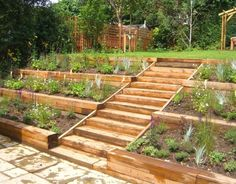 We made a feature of the garden's slope, by designing three terraced levels of…