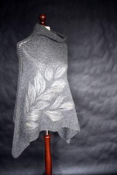 Gray+poncho+women+poncho+knit++poncho+knit+by+KnitwearFactory,+$110.00