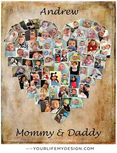 16x20 with 55 photos heart collage. Mom & Dad heart collage. ❤ Background 5 Font 5