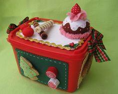Pote de sorvete enfeitado pra natal