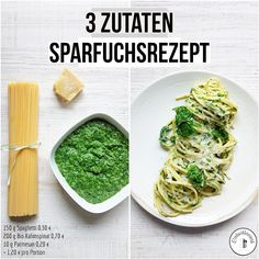Spinach spaghetti savings fox recipe - cheap and tasty in 15 minutes on the table - 3 Zutaten - Greek Recipes Greek Recipes, Diet Recipes, Vegetarian Recipes, Healthy Recipes, Frugal Meals, Cheap Meals, Cheap Food, Diet And Nutrition, Feta