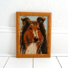 Vintage 70s Collie Dog Cross Stitch Wall Hanging