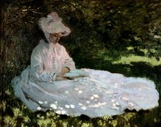 Monet painting of girl in white dress, reading outside in sun dappled shade. Delectable pink shadows.