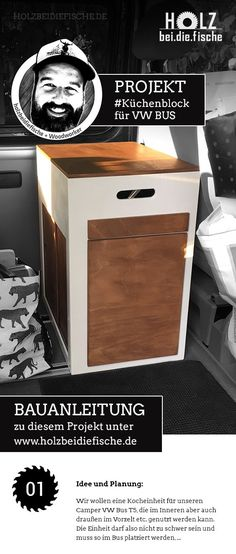 Projekt: Mobiler Küchenblock/Schrank für Camper VW Bus von HOLZbeidiefische. Eine Projektbeschreibung findet Ihr auf www.holzbeidiefische.de