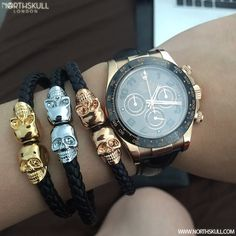 Fan Instagram Pic ! | @Danielieong_ Shows us his Northskull collection with 3 different colorways of our Nappa Leather Twin Skull Bracelets alongside his Rolex Daytona Watch. Impressive ! | What's your favourite color ? | Available at www.Northskull.com | For A Chance To Get Featured Post A Cool Photo Of Your Northskull Jewelry With The Tag #Northskullfanpic on Instagram