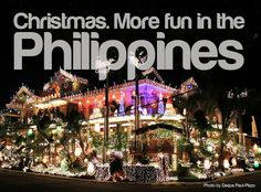 More FUN in the Philippines! As many OFW would claim, nothing could compare to Christmas in the Philippines. Philippines Tourism, Visit Philippines, Philippines Culture, Philippines Food, Noel Christmas, Christmas Lights, Christmas Crafts, Paskong Pinoy, Christmas In The Philippines