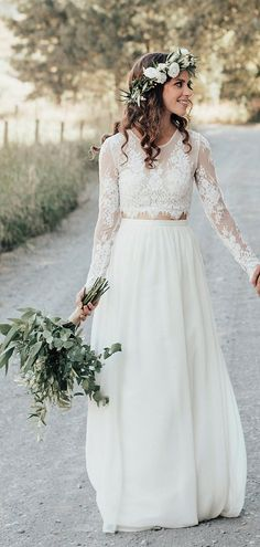 Two-piece with see-through lace long sleeve ivory chiffon wedding dresses, . - Two-piece with see-through lace long sleeve ivory chiffon wedding dresses, - Wedding Dress Chiffon, Boho Wedding Dress With Sleeves, Two Piece Wedding Dress, Elegant Wedding Gowns, Country Wedding Dresses, Modest Wedding Dresses, Designer Wedding Dresses, Boho Dress, Bridal Dresses