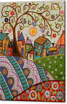 Amusing Landscape X Original Canvas Painting Birds Cat - Amusing Landscape X Original Canvas Painting Birds Cat Folk Art Karla Gerard Folkartabstractprimitive Landscapeart More Information Find This Pin And More On Landscape Art By Low Maintenance Posca Art, Naive Art, Whimsical Art, Tree Art, Landscape Paintings, Folk Art Paintings, Canvas Paintings, Indian Paintings, Landscape Art