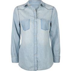 ALI & KRIS Chambray Womens Shirt ($27) ❤ liked on Polyvore